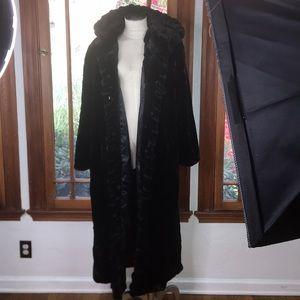 SOLD vintage faux mink fur black hooded coat